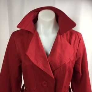 Ambitios red spring long jacket with belt size S